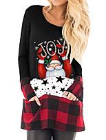 cheap -Women's Shift Dress Short Mini Dress Wine Gray White Black Long Sleeve Print Plaid Letter Pocket Print Fall Winter Round Neck Casual Christmas 2021 S M L XL XXL 3XL 4XL 5XL