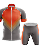 cheap -CAWANFLY Men's Short Sleeve Cycling Jersey with Shorts Summer Silver+Orange Bike Sports Geometic Mountain Bike MTB Road Bike Cycling Clothing Apparel / Micro-elastic / Athleisure / Triathlon