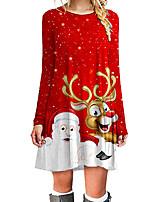 cheap -Women's A Line Dress Short Mini Dress Red Long Sleeve Animal Print Fall Winter Round Neck Casual Christmas 2021 S M L XL