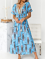 cheap -Women's Swing Dress Maxi long Dress Blue White Black Short Sleeve Print Print Fall V Neck Casual 2021 S M L XL XXL