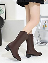 cheap -Women's Boots Chunky Heel Round Toe Crotch High Boots Daily PU Solid Colored Black Brown Beige