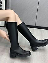 cheap -Women's Boots Flat Heel Round Toe Rubber PU Color Block White Black