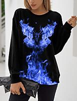 cheap -Women's Sweatshirt Pullover Flame Print Casual Sports 3D Print Basic Streetwear Hoodies Sweatshirts  Blue Purple Green