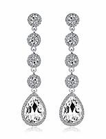 cheap -women's elegant crystal earrings - beaded teardrop pear shape 3 inch long dangle earrings for wedding brides bridesmaids (silver)