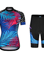 cheap -21Grams Women's Short Sleeve Cycling Jersey with Shorts Summer Spandex Polyester Blue Leaf Funny Bike Clothing Suit 3D Pad Quick Dry Moisture Wicking Breathable Back Pocket Sports Patterned Mountain