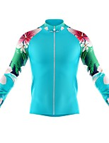 cheap -21Grams Men's Long Sleeve Cycling Jersey Spandex Polyester Blue Floral Botanical Funny Bike Top Mountain Bike MTB Road Bike Cycling Quick Dry Moisture Wicking Breathable Sports Clothing Apparel