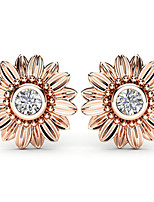 cheap -Women's AAA Cubic Zirconia Earrings Round Cut Flower Stylish Artistic Luxury Trendy Korean Gold Plated Earrings Jewelry Golden / Rose Gold / Silver For Christmas Gift Daily Work Festival 1 Pair