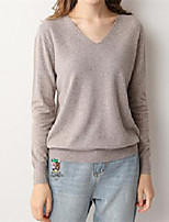 cheap -Women's Pullover Sweater Classic Style Solid Color Active Casual Long Sleeve Sweater Cardigans V Neck Fall Winter Light Blue Gray Green Rubber powder