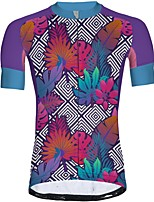 cheap -21Grams Men's Short Sleeve Cycling Jersey Summer Spandex Polyester Purple Plaid Checkered Floral Botanical Funny Bike Top Mountain Bike MTB Road Bike Cycling Quick Dry Moisture Wicking Breathable