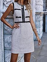 cheap -Women's Shift Dress Short Mini Dress White Black Sleeveless Check Classic Style Spring Summer Round Neck Elegant Casual 2021 S M L XL