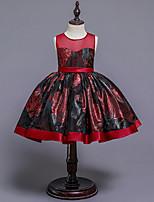 cheap -girls red mesh embroidered round neck sleeveless princess dress