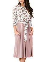 cheap -Women's Shift Dress Knee Length Dress Blushing Pink Black Light Green Light Blue 3/4 Length Sleeve Leopard Pocket Patchwork Print Fall Round Neck Casual 2021 S M L XL