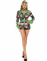 cheap -Police Uniforms Cosplay Costume Adults' Women's Halloween Halloween Halloween Festival / Holiday Terylene Green Women's Easy Carnival Costumes Camo / Camouflage / Dress / Hat / Waist Belt / Neckwear