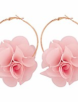 cheap -bohemian big fabric flowers dangle drop earrings multicolor handmade lightweight charm chic petal hoop earrings with chiffon floral tassel for women girls-pink
