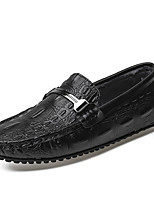cheap -Men's Loafers & Slip-Ons Comfort Loafers Crib Shoes Drive Shoes Casual Daily Leather Warm Non-slipping Wear Proof Burgundy White Black Fall Winter