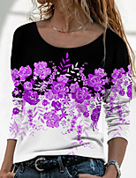 cheap -Women's Floral Theme Painting T shirt Floral Color Block Long Sleeve Print Round Neck Basic Tops Blue Purple Blushing Pink