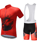 cheap -CAWANFLY Men's Short Sleeve Cycling Jersey with Bib Shorts Summer Orange / Black Bike Sports Geometic Mountain Bike MTB Road Bike Cycling Clothing Apparel / Micro-elastic / Athleisure / Triathlon