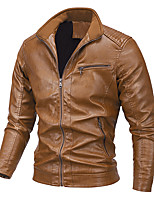 cheap -Men's Hiking Jacket Faux Leather Jacket Hiking Windbreaker PU Leather Winter Outdoor Solid Color Thermal Warm Windproof Warm Outerwear Trench Coat Top Full Length Visible Zipper Skiing Ski