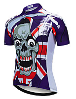 cheap -21Grams Men's Short Sleeve Cycling Jersey Summer Spandex Polyester Purple Skull Funny Bike Top Mountain Bike MTB Road Bike Cycling Quick Dry Moisture Wicking Breathable Sports Clothing Apparel