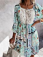 cheap -Women's A Line Dress Short Mini Dress Blushing Pink Green Beige 3/4 Length Sleeve Floral Lace Print Fall Summer Round Neck Casual 2021 S M L XL XXL