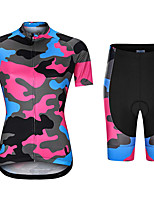 cheap -21Grams Women's Short Sleeve Cycling Jersey with Shorts Summer Spandex Red+Blue Camo / Camouflage Bike Quick Dry Moisture Wicking Sports Camo / Camouflage Mountain Bike MTB Road Bike Cycling Clothing