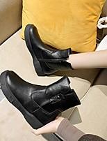 cheap -Women's Boots Flat Heel Round Toe Rubber PU Light Brown Black