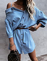 cheap -Women's Shirt Dress Short Mini Dress Light Blue Half Sleeve Solid Color Button Fall cold shoulder Work Casual 2021 S M L XL / Cotton