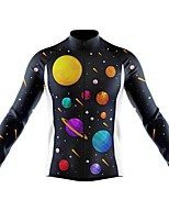 cheap -21Grams Men's Long Sleeve Cycling Jersey Spandex Polyester Black Galaxy Funny Bike Top Mountain Bike MTB Road Bike Cycling Quick Dry Moisture Wicking Breathable Sports Clothing Apparel / Athleisure