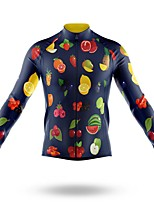 cheap -21Grams Men's Long Sleeve Cycling Jersey Spandex Polyester Dark Navy Funny Fruit Bike Top Mountain Bike MTB Road Bike Cycling Quick Dry Moisture Wicking Breathable Sports Clothing Apparel / Stretchy