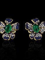 cheap -Women's AAA Cubic Zirconia Earrings Fancy Petal Stylish Elegant Vintage European Earrings Jewelry Black For Halloween Anniversary Party Evening Street Birthday 1 Pair