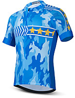 cheap -21Grams Men's Short Sleeve Cycling Jersey Summer Spandex Blue Camo / Camouflage Stars Bike Top Mountain Bike MTB Road Bike Cycling Quick Dry Moisture Wicking Sports Clothing Apparel / Stretchy