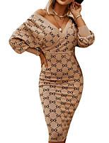 cheap -Women's Sheath Dress Knee Length Dress Gray Khaki Red Long Sleeve Geometric Print Fall V Neck Casual Lantern Sleeve 2021 S M L XL XXL 3XL