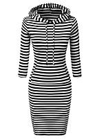 cheap -Women's Wrap Dress Knee Length Dress Black Red Long Sleeve Stripes Modern Style Fall Winter Round Neck Casual 2021 S M L XL XXL