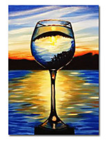 cheap -Wall Art Canvas Prints Painting Artwork Picture Abstract Wine GlassBlueBeer Festival Home Decoration Decor Stretched Frame Ready to Hang