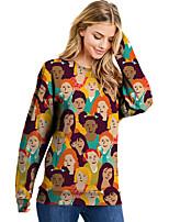 cheap -Women's Sweatshirt Portrait Print Casual Daily 3D Print Basic Streetwear Hoodies Sweatshirts  Rainbow
