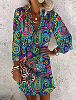 cheap -Women's Shift Dress Short Mini Dress Blue Red 3/4 Length Sleeve Multi Color Geometic Print Spring Summer V Neck Active Casual 2021 S M L XL XXL