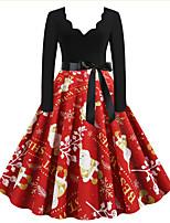 cheap -Women's A Line Dress Knee Length Dress Red Long Sleeve Print Letter Print Fall Winter V Neck Casual Christmas 2021 S M L XL XXL 3XL