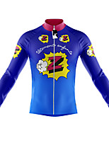 cheap -21Grams Men's Long Sleeve Cycling Jersey Spandex Polyester Blue Cartoon Funny Bike Top Mountain Bike MTB Road Bike Cycling Quick Dry Moisture Wicking Breathable Sports Clothing Apparel / Stretchy