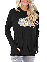 cheap -Women's Painting T shirt Graphic Daisy Letter Long Sleeve Print Round Neck Basic Vintage Tops Regular Fit Cotton Green Light gray Black