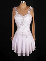 cheap -Figure Skating Dress Women's Girls' Ice Skating Dress White Flower Open Back Spandex Stretch Yarn High Elasticity Training Competition Skating Wear Handmade Solid Colored Crystal / Rhinestone Long