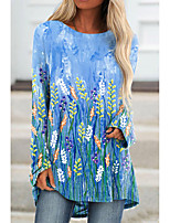 cheap -Women's Floral Theme Painting T shirt Plants Graphic Long Sleeve Print Round Neck Basic Tops Blue Purple Green