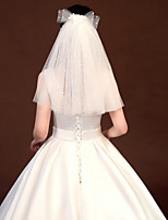 cheap -One-tier Casual / Daily / Cute Wedding Veil Shoulder Veils with Satin Bow / Scattered Crystals Style / Solid Tulle