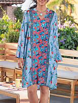 cheap -Women's A Line Dress Knee Length Dress Blue Yellow Green Long Sleeve Floral Print Fall V Neck Casual 2021 S M L XL XXL 3XL