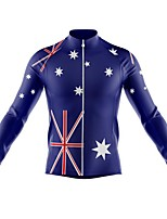 cheap -21Grams Men's Long Sleeve Cycling Jersey Spandex Polyester Dark Blue Stars UK Funny Bike Top Mountain Bike MTB Road Bike Cycling Quick Dry Moisture Wicking Breathable Sports Clothing Apparel