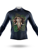 cheap -21Grams Men's Long Sleeve Cycling Jersey Spandex Polyester Dark Navy Leaf Elephant Funny Bike Top Mountain Bike MTB Road Bike Cycling Quick Dry Moisture Wicking Breathable Sports Clothing Apparel