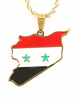 cheap -stainless steel country map syria pendant syrians maps necklace jewelry gifts (gold color)
