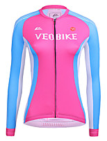 cheap -21Grams Women's Long Sleeve Cycling Jersey Summer Spandex Blue+Pink Color Block Bike Top Mountain Bike MTB Road Bike Cycling Sports Clothing Apparel / Stretchy / Athleisure