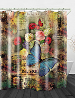 cheap -Vintage Butterfly Flowers Print Waterproof Fabric Shower Curtain for Bathroom Home Decor Covered Bathtub Curtains Liner Includes with Hooks
