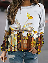 cheap -Women's Sweatshirt Pullover Floral Graphic Butterfly Print Daily Sports 3D Print Active Streetwear Hoodies Sweatshirts  Brown