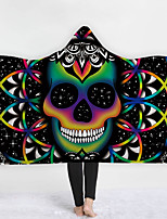 cheap -New Hooded Blanket Cloak Magic Hat Blanket Thick Double-layer Plush 3d Digital Printing Skull Series